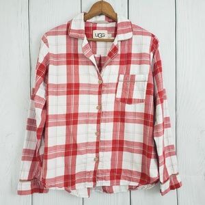 UGG size Small Red Flannel Plaid Button Down Shirt